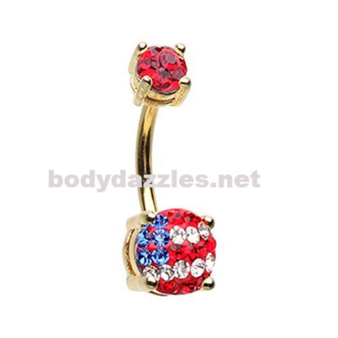 Golden American Flag Sprinkle Dot Gem Prong Sparkle Belly Button Ring Surgical Stainless Steel 14ga