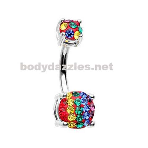 Rainbow Stripe Sprinkle Dot Gem Prong Sparkle Belly Button Ring Surgical Stainless Steel 14ga