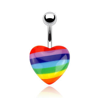 Rainbow Acrylic Heart Navel Ring 316L Surgical Steel Belly Button Rings - BodyDazzle