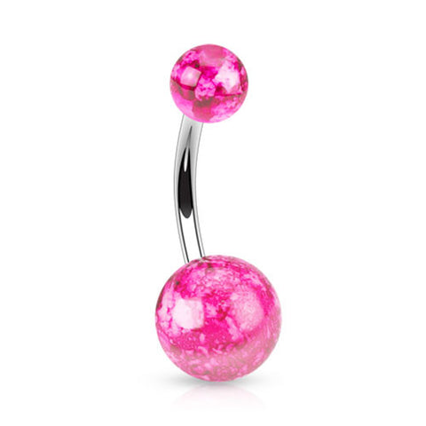 Splatter Paint Pink Belly Ring Navel Ring Acrylic Surgical Steel Body Jewelry 14ga - BodyDazzle - 1