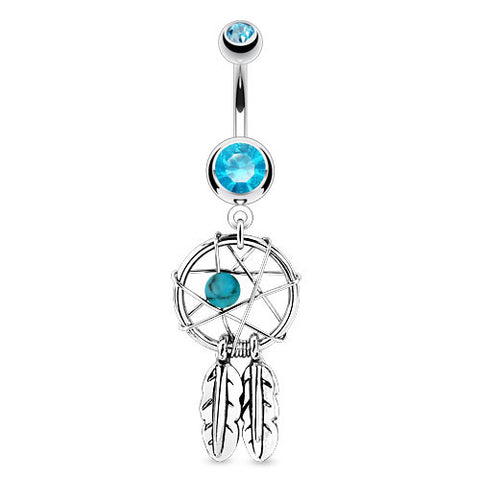 Blue Dream Catcher Woven Star Design with Bead and Feathers Fancy Navel Ring 316L Surgical Steel - BodyDazzle - 1