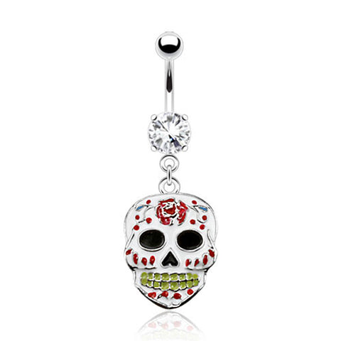 Sugar Skull Belly Ring White Navel Ring Body Jewelry Piercing Jewelry 14ga - BodyDazzle - 1