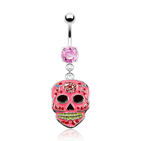 Sugar Skull Belly Ring Pink Navel Ring Body Jewelry Piercing Jewelry 14ga - BodyDazzle - 1