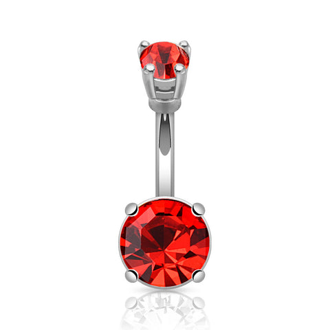 Red Round Gem Prong Set Belly Button Ring 14ga  316L Surgical Steel Navel Ring - BodyDazzle - 1