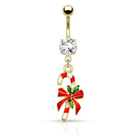 Gold Candy Cane Belly Button Navel Ring 14ga Surgical Stainless Steel - BodyDazzle