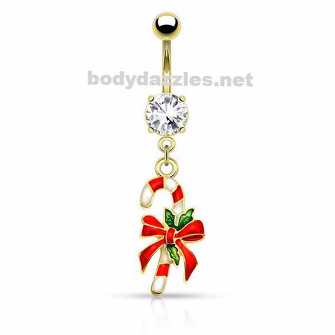 Gold Candy Cane Belly Button Navel Ring 14ga Surgical Stainless Steel Holiday Christmas