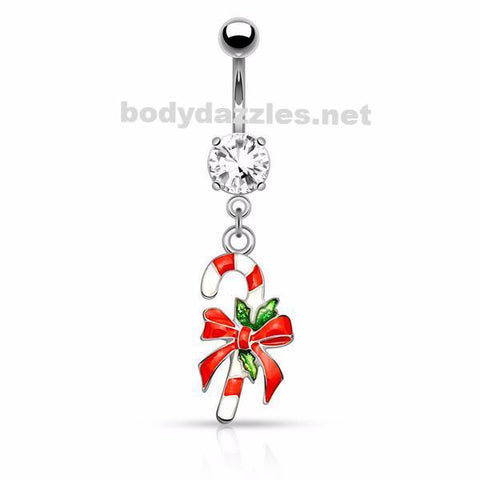 Silver Candy Cane Belly Button Navel Ring 14ga Surgical Stainless Steel