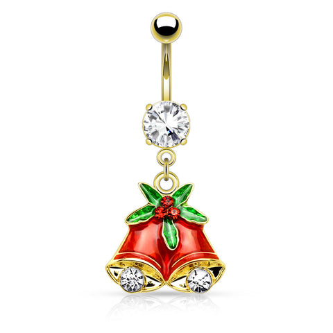 Gold Gemmed Mistletoe and Bell Dangle Navel Ring Belly Button Ring 14ga Surgical Stainless Steel - BodyDazzle