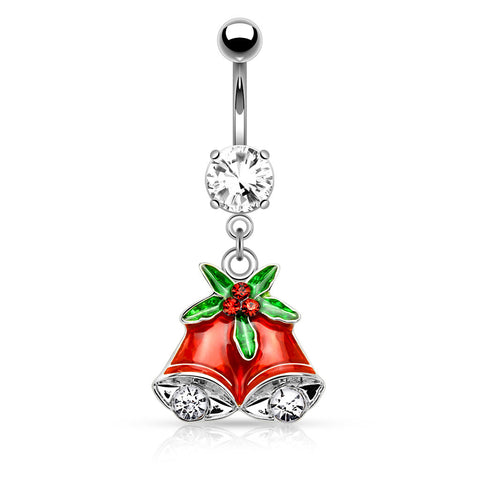 Silver Gemmed Mistletoe and Bell Dangle Navel Ring Belly Button Ring 14ga Surgical Stainless Steel - BodyDazzle