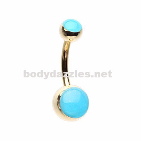 Golden Blue Glow in the Dark Steel Belly Button Ring 14ga Navel Ring Surgical Steel Body Jewelry