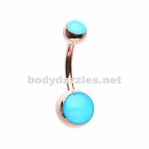 Rose Gold Blue Glow in the Dark Steel Belly Button Ring 14ga Navel Ring Surgical Steel Body Jewelry