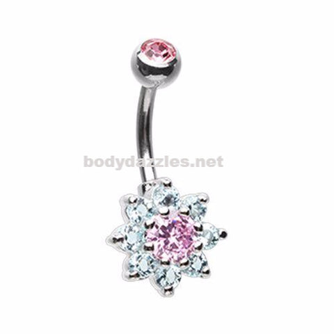 Luxuriant Pink Spring  Flower Belly Button Ring 14ga Navel Ring Non Dangle Body Jewelry