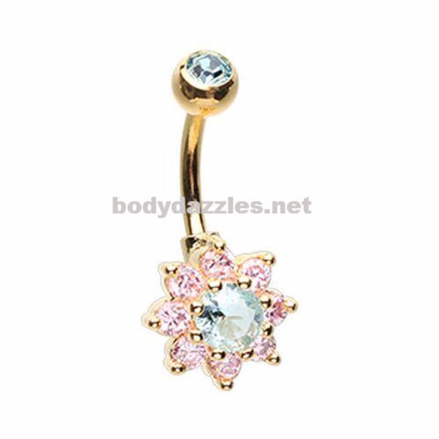 Golden Luxuriant Spring Pink Flower  Rhinestone Belly Button Ring 14ga Navel Ring Non Dangle Body Jewelry