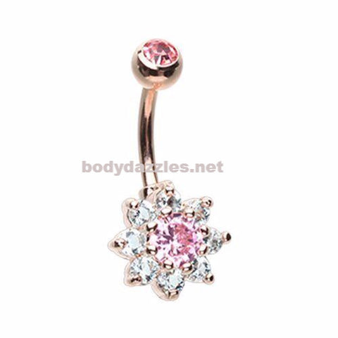 Golden Luxuriant Spring Flower Pink Rhinestone Belly Button Ring 14ga Navel Ring Non Dangle Body Jewelry