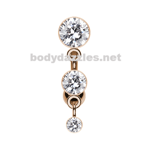 Rose Gold Triple Crystalline Reverse Belly Button Ring Navel Ring 14ga Surgical Steel