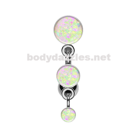 White Triple Glitter Opal Reverse Belly Button Ring Navel Ring 14ga Surgical Steel