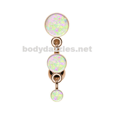 Rose Gold White Triple Glitter Opal Reverse Belly Button Ring Navel Ring 14ga Surgical Steel