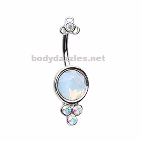 Crop Circles White Opal Belly Button Ring 14ga Navel Ring Non Dangle Body Jewelry
