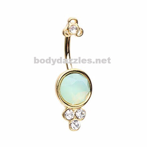 Golden Crop Circles White Opal Belly Button Ring 14ga Navel Ring Non Dangle Body Jewelry