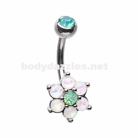 Admirable Glitter Opal Flower Belly Button Ring 14ga Navel Ring Non Dangle Body Jewelry