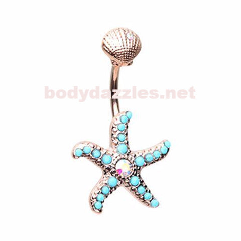 Rose Gold Under the Sea Belly Button Ring 14ga Navel Ring Body Jewelry
