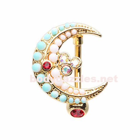 Vibrant Moon Drop Top Down Reversible Belly Button Ring 14ga Navel Ring Body Jewelry