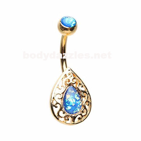 Golden Cleopatra Egyptian Belly Button Ring 14ga Navel Ring Body Jewelry
