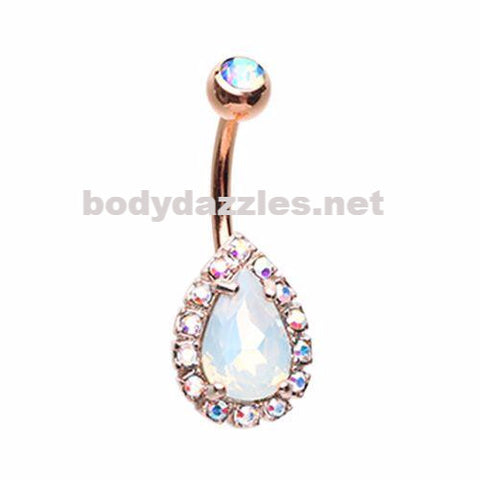 Rose Gold Opalescent Teardrop Belly Button Ring 14ga Navel Ring Surgical Steel Body Jewelry