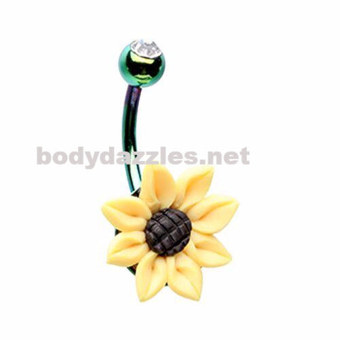 Sun Flower Belly Button Ring Navel Ring Belly Piercing 14ga 316L Surgical Stainless Steel Body Jewelry