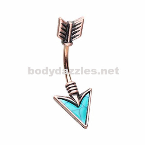 Rose Gold Turquoise Arrow Belly Button Ring 14ga Navel Ring Surgical Steel Body Jewelry