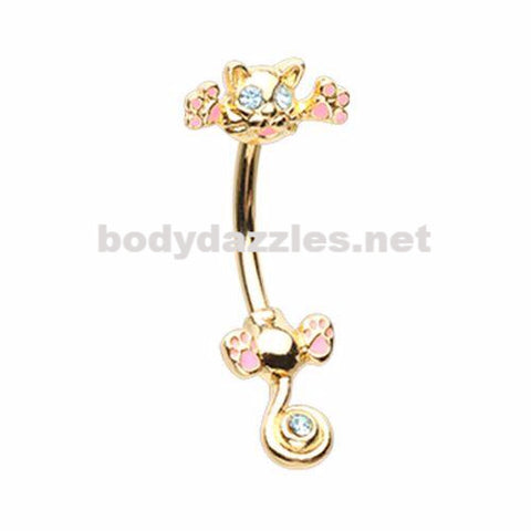 Just Kittying Around Belly Button Ring 14ga Navel Ring Surgical Steel Body Jewelry
