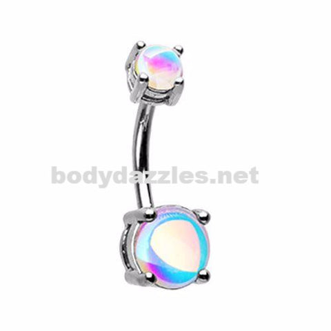 Revo Sparkle Prong Set Belly Button Ring 14ga Navel Ring Surgical Steel Body Jewelry