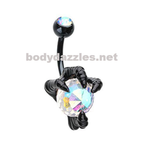 Black Dragon's Claw Belly Button Ring Navel Ring 14ga Body Jewelry - BodyDazzles