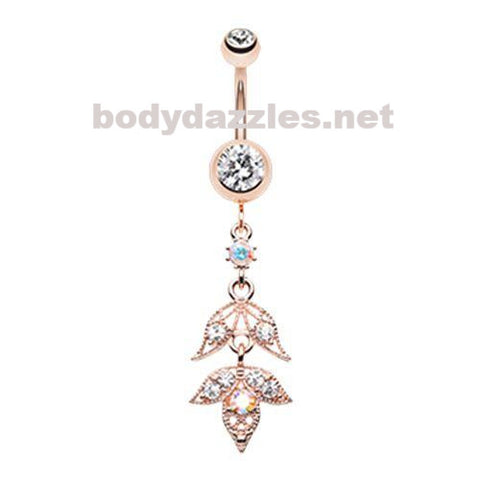 Rose Gold Falling for You Belly Button Ring Navel Ring 14ga