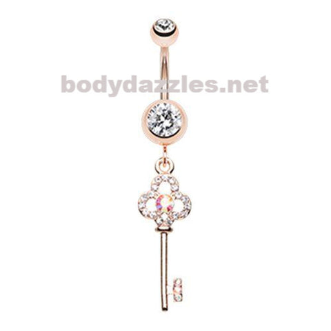 Rose Gold Key to Happiness Belly Button Ring Navel Ring 14ga