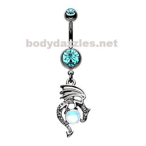 Black Mother of Dragons Belly Button Ring Navel Ring  14ga - BodyDazzles