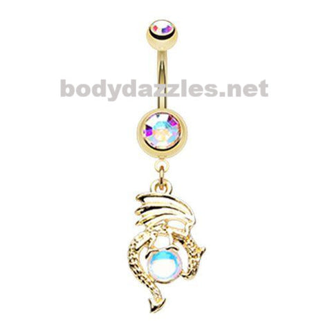 Golden Mother of Dragons Belly Button Ring Navel Ring  14ga