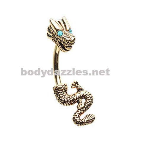 Golden Never Ending Dragon Belly Button Ring Navel Ring Silver 14ga
