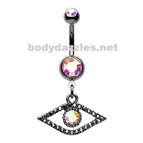 Eye of the Dragon Belly Button Ring Navel Ring Silver 14ga