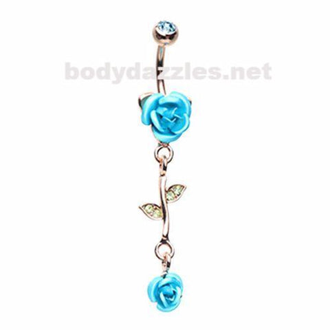 Golden Bright Metal Rose Belly Button Ring 14ga Navel Ring Dangle Body Jewelry