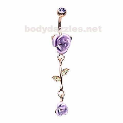 Purple Golden Bright Metal Rose Belly Button Ring 14ga Navel Ring Dangle Body Jewelry