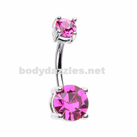 Brilliant Sparkle Gem Prong Set Belly Button Ring Navel Ring Body Jewelry 14ga Surgical Steel