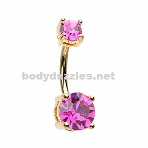 Golden Brilliant Sparkle Gem Prong Set Belly Button Ring Navel Ring Body Jewelry 14ga Surgical Steel