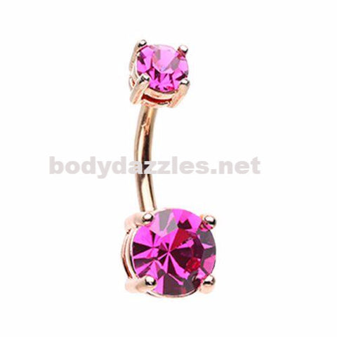 Rose Gold Brilliant Sparkle Gem Prong Set Belly Button Ring Navel Ring Body Jewelry 14ga Surgical Steel