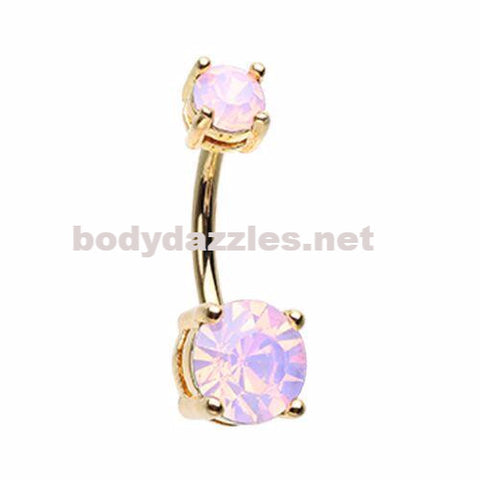 Gold Opalescent Brilliant Sparkle Gem Prong Set Belly Button Ring Navel Ring Body Jewelry 14ga Surgical Steel