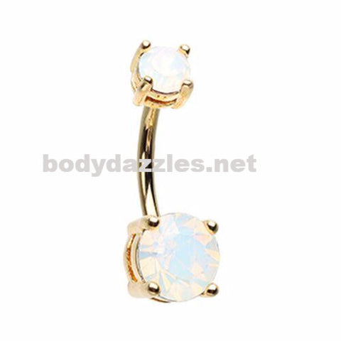 Gold White Opalescent Brilliant Sparkle Gem Prong Set Belly Button Ring Navel Ring Body Jewelry 14ga Surgical Steel