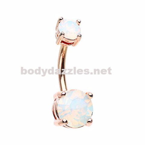 Rose Gold White Opalescent Brilliant Sparkle Gem Prong Set Belly Button Ring Navel Ring Body Jewelry 14ga Surgical Steel