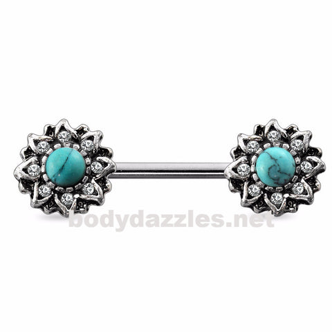 Antique Burnish Silver Gem Turquoise Stone Sunburst  Nipple Barbell 14ga Surgical Steel - BodyDazzles