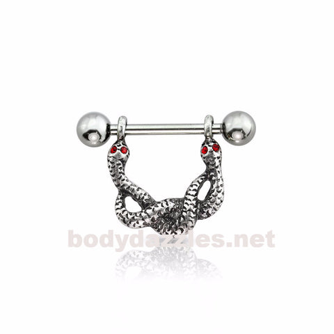 Two Snakes Steel Nipple Shield 316L Surgical Steel Barbell 14ga Nipple Ring