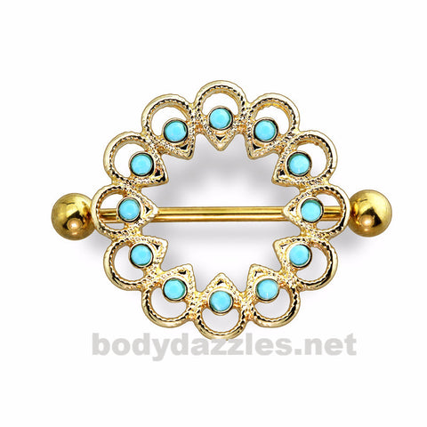 Gold Tribal Stone Embedded Nipple Shield with 316L Surgical Steel Barbell 14ga Nipple Ring